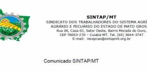 Comunicado SINTAP/MT