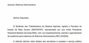 Servidores pressionam deputados em Brasília para barrarem PEC32/2020; Diretores do Sintap/MT protocolam ofícios nos gabinetes